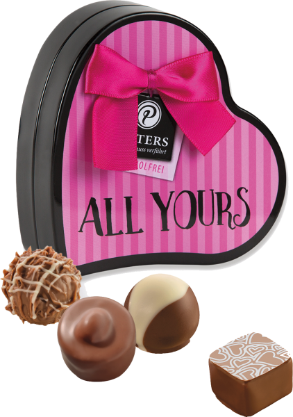 """All yours"" - Pralinen in Herzdose"